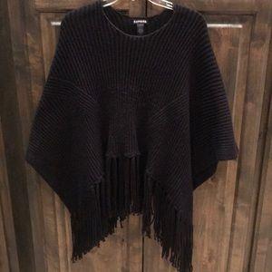 Express Black Poncho Fringe Sweater OS $59!!